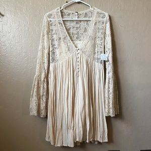 NWT free people love from India cream lace dress